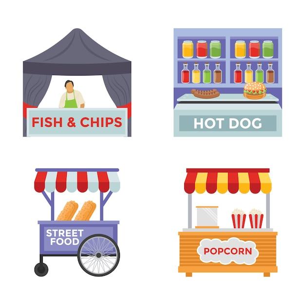 Vendor foods flat icons Premium Vektoren