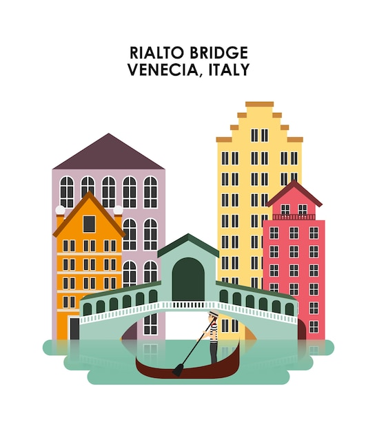 Venecia-stadtikone. italien kultur design. vektorgrafik Premium Vektoren