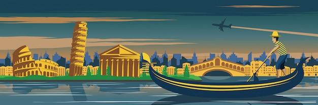 Venedig boot und pisa turm Premium Vektoren