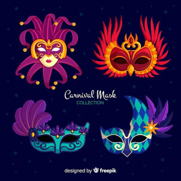 Venezianische maskensammlung des karnevals Kostenlosen Vektoren