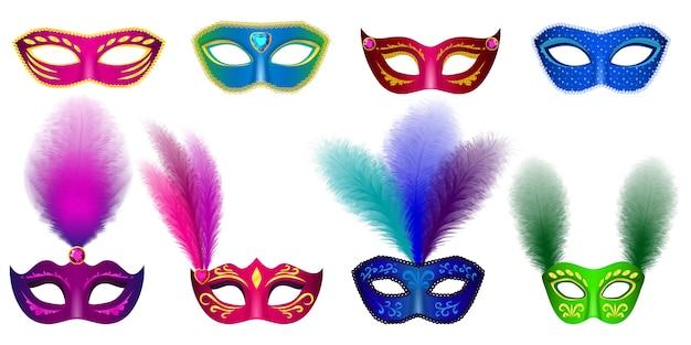 Venezianischer modellsatz der karnevalsmaske Premium Vektoren