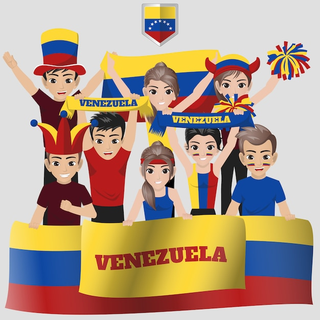 Venezolanische fußballnationalmannschaft, anhänger des amerikanischen wettbewerbs Premium Vektoren