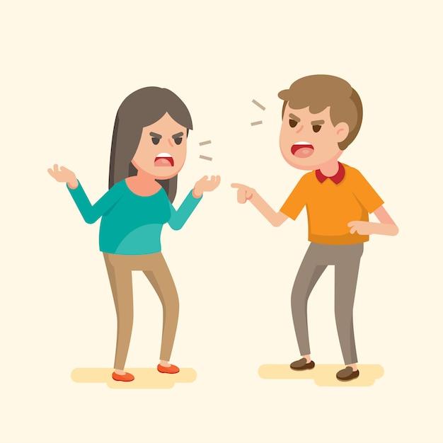 Verärgerte junge paare, die an einander kämpfen und schreien Premium Vektoren