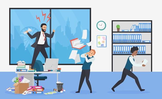 Verärgerter chef im büro erschreckte mitarbeiter, die von wütendem top-manager schockiert wurden Premium Vektoren