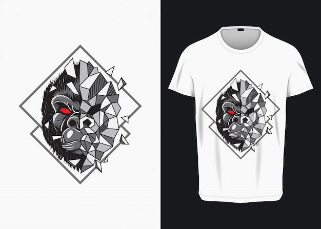 Verärgerter gorilla face breaking glass illustration für t-shirt Premium Vektoren