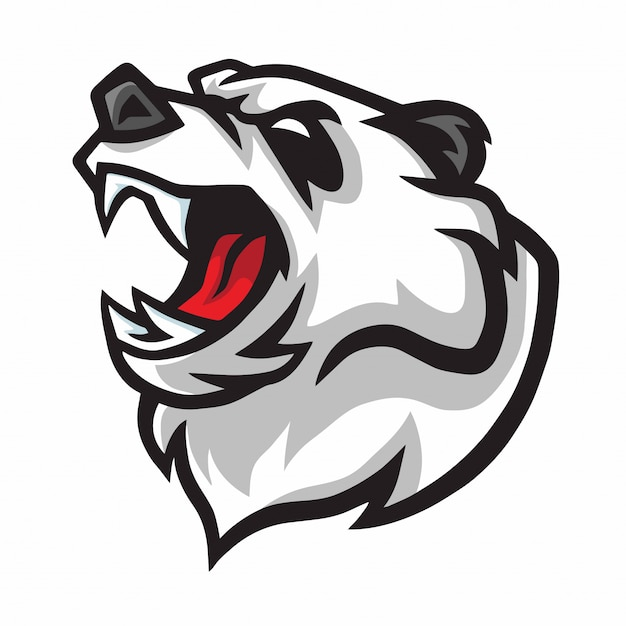 Verärgerter panda roar maskottchen logo design Premium Vektoren