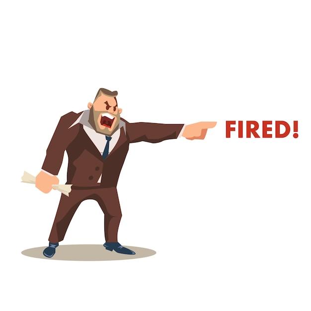 Verärgerter wütender chef character in anzug shout fired word Premium Vektoren