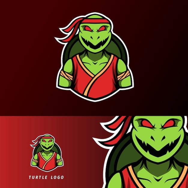 Verärgertes ninja-schildkrötenmaskottchen, sport esport logoschablone Premium Vektoren