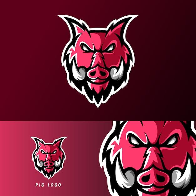Verärgertes schweintiersport- oder esportspiel-maskottchenlogo Premium Vektoren