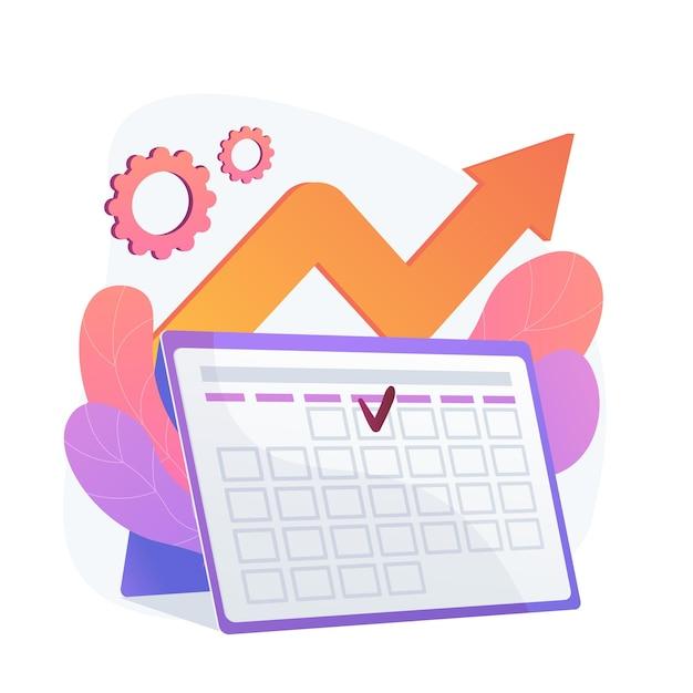 Veranstaltungsmanagement. leistungseffizienz, zeitoptimierung, erinnerung. aufgabe und projekttermin flaches gestaltungselement. terminerinnerung. Kostenlosen Vektoren