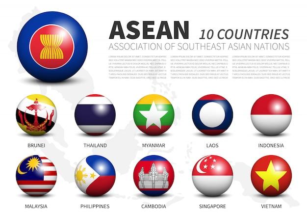 Verband der südostasiatischen nationen fahnen in dreidimensionalen sphären Premium Vektoren
