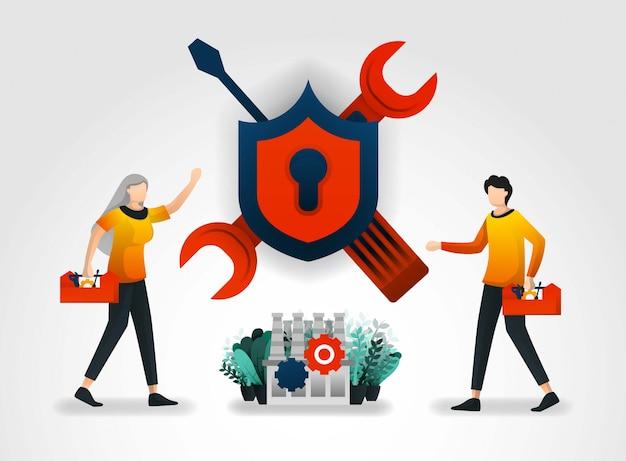 Verbessern sie die sicherheitssysteme in industrie und fabrik Premium Vektoren