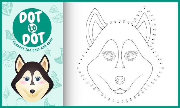 Verbinde das dots kids-spiel und die malvorlage mit einem niedlichen husky-hund Premium Vektoren