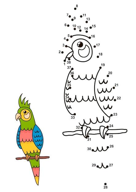 Verbinde die punkte, um den niedlichen papagei zu zeichnen Premium Vektoren