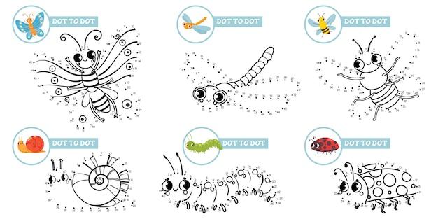 verbinde punkte cartoon insekten spiel niedliche insekten
