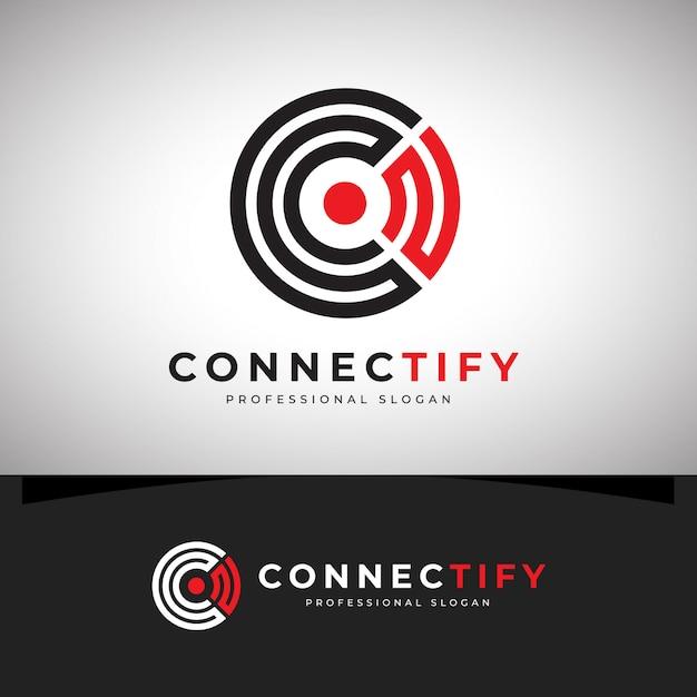 Verbinden sie das c-letter-logo Premium Vektoren