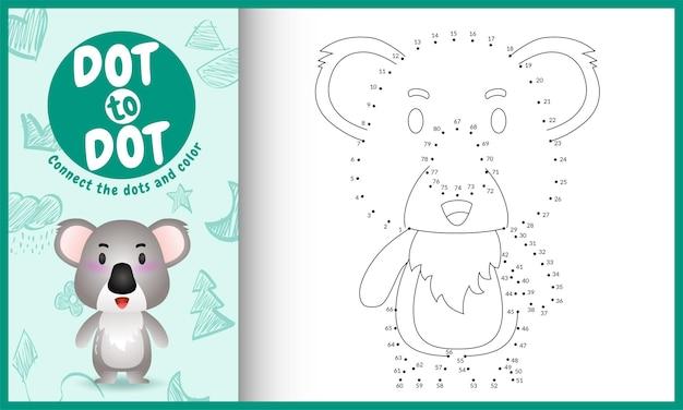 Verbinden sie das punktkinderspiel mit einer niedlichen koala-charakterillustration Premium Vektoren