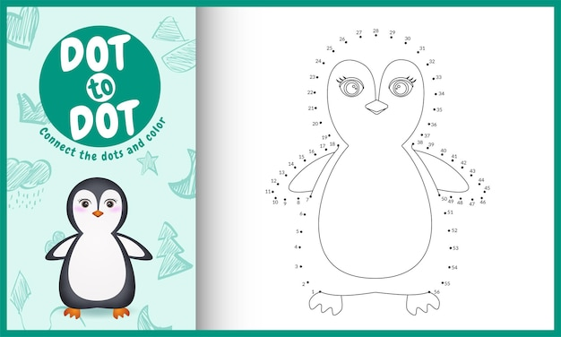 Verbinden sie das punktkinderspiel und die malvorlage mit einer niedlichen pinguin-charakterillustration Premium Vektoren