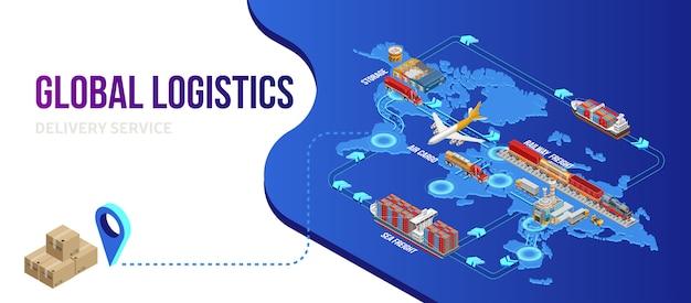 Verbindung des globalen logistikschemas mit dem zustellpunkt Premium Vektoren