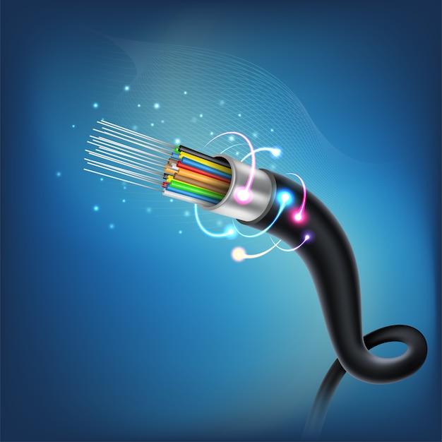 Verbindungskonzept des lichtwellenleiters Premium Vektoren