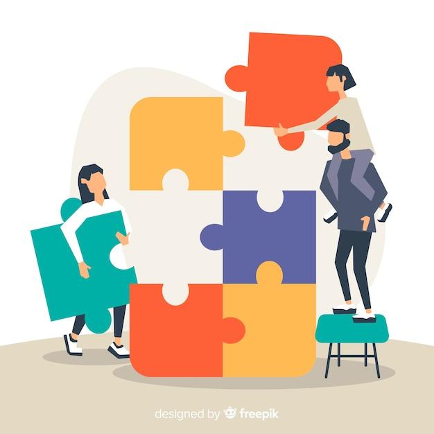 Verbindungspuzzlespiel der leute bessert bunten hintergrund aus Kostenlosen Vektoren