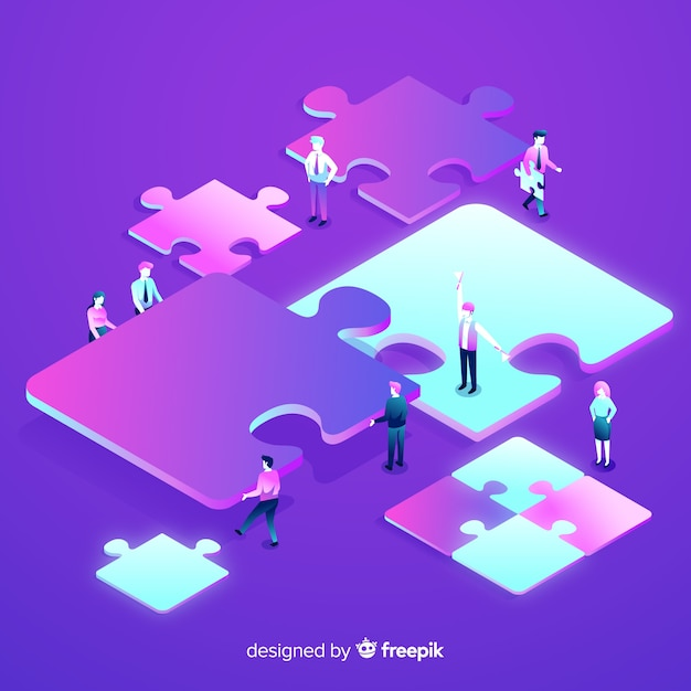 Verbindungspuzzlespiel der leute bessert isometrischen hintergrund aus Kostenlosen Vektoren