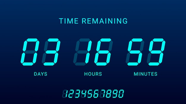 Verbleibende zeit illustration mit digital countdown clock counter timer Premium Vektoren