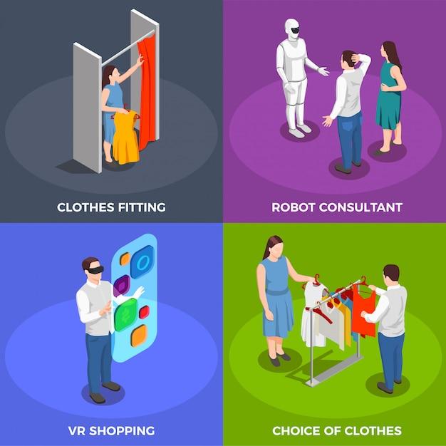 Verbraucher-isometrische konzept-ikonen eingestellt Kostenlosen Vektoren
