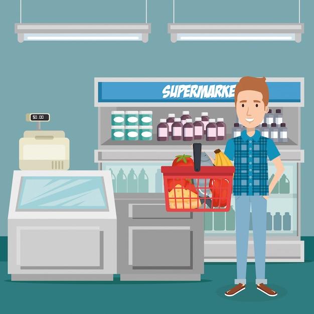 Verbraucher mit einkaufskorb von lebensmitteln Kostenlosen Vektoren