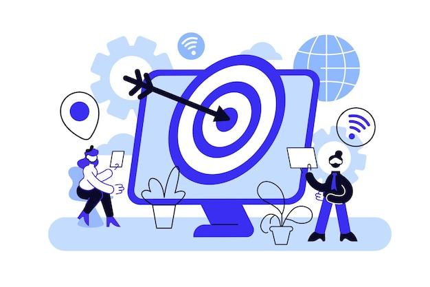 Verbraucher mit geräten erhalten gezielte anzeigen und nachrichten. Premium Vektoren