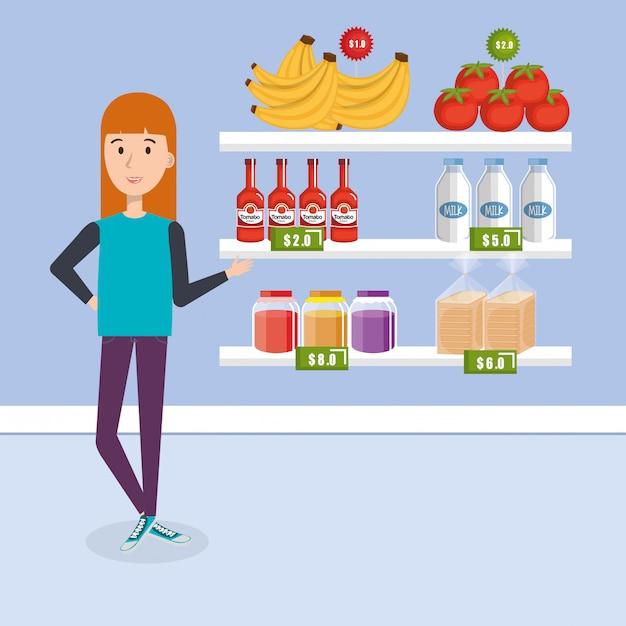 Verbraucher mit supermarktlebensmitteln Kostenlosen Vektoren