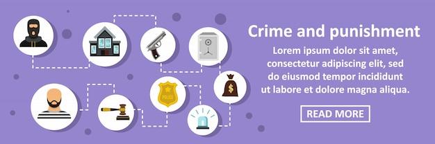 Verbrechen und bestrafung banner horizontale konzept Premium Vektoren
