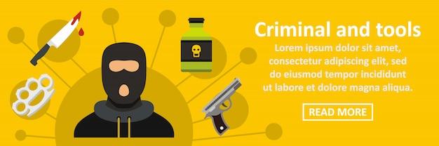 Verbrecher und horizontales konzept der werkzeugfahne Premium Vektoren