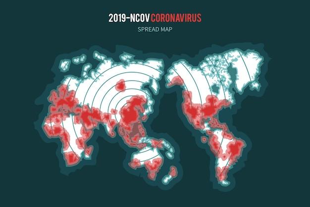 Verbreitung der coronavirus-karte Kostenlosen Vektoren