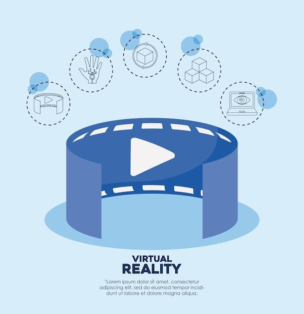 Verbundene ikonen des videos 3d und der virtuellen realität Premium Vektoren