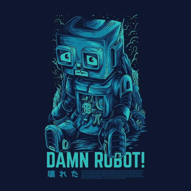 Verdammte roboter-remasterte illustration Premium Vektoren