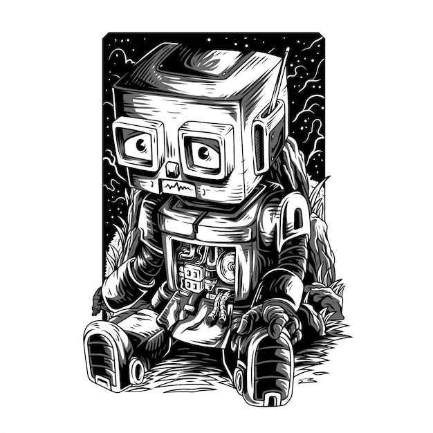 Verdammter roboter remastered schwarzweißabbildung Premium Vektoren
