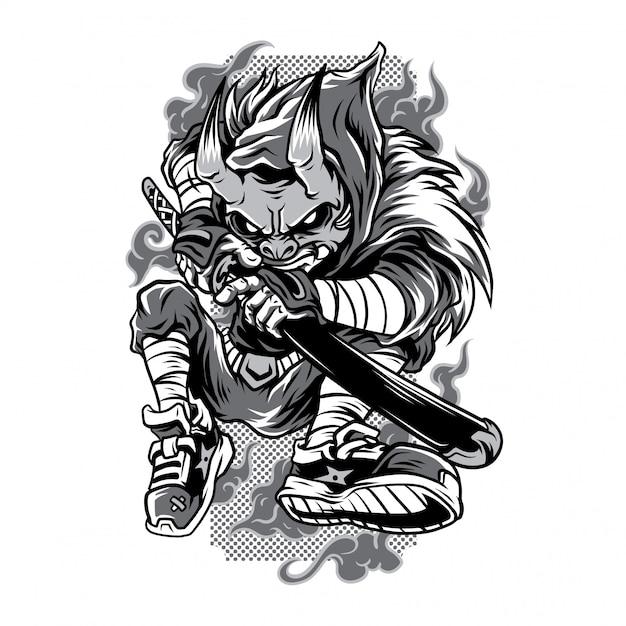 Verdeckter hunter black and white illustration Premium Vektoren