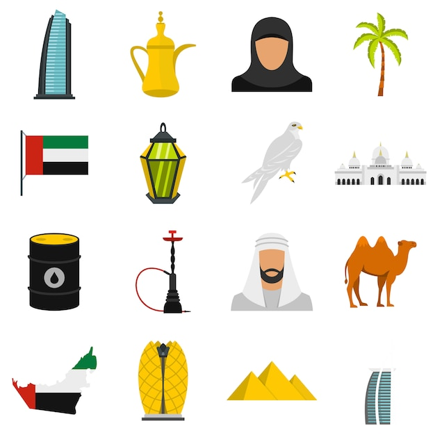 Vereinigte arabische emirate reisen flache ikonen Premium Vektoren