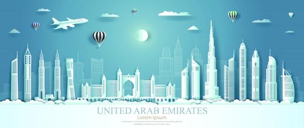 Vereinigte arabische emirate sehenswürdigkeiten mit architektur Premium Vektoren