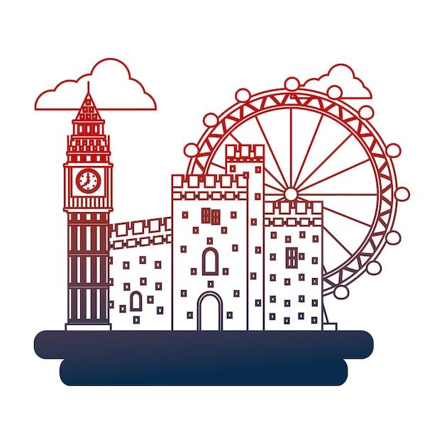 Vereinigtes königreich big ben schloss und london eye Premium Vektoren