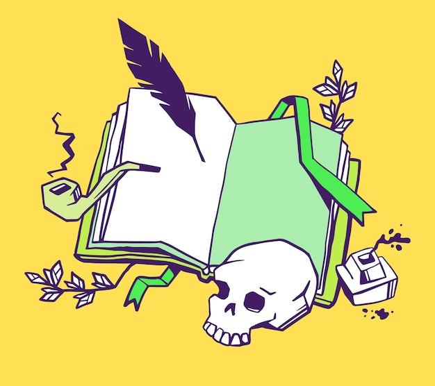 Verfasser des buchkonzepts. kreative illustration des farberöffnungsbuchs mit lesezeichen, vogelfeder, tintenfass, rauchpfeife, menschlichem schädel auf gelbem hintergrund. Premium Vektoren
