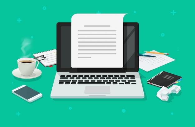 Verfasserarbeitsplatztabelle und computerpapierblatt mit dem inhalt, der flache karikatur schreibt Premium Vektoren
