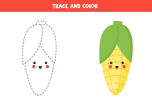 verfolgen und färben sie niedlichen kawaii mais