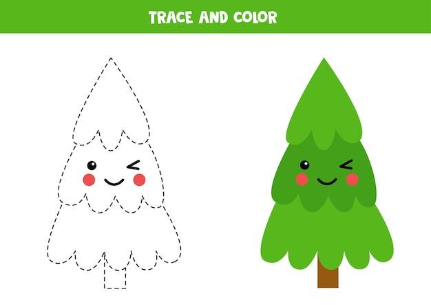 Verfolgen und färben sie niedlichen tannenbaum. weihnachtsarbeitsblätter für kinder. schreibpraxis für kinder im vorschulalter. Premium Vektoren