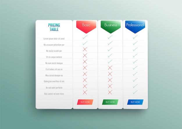 Vergleichspreisliste. vergleichen von preis- oder produktplandiagrammen vergleichen von produkten business purchase discount hosting image grid. Premium Vektoren