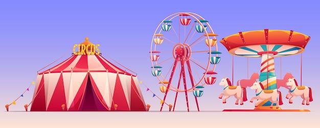 Vergnügungskarnevalspark mit zirkuszeltillustration Kostenlosen Vektoren