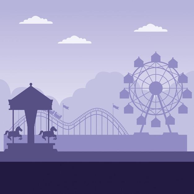 Vergnügungspark mit purpurrotem hintergrund Kostenlosen Vektoren