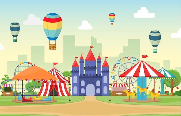 Vergnügungspark-zirkus-karnevalsfest-spaß-angemessene landschaftsillustration Premium Vektoren