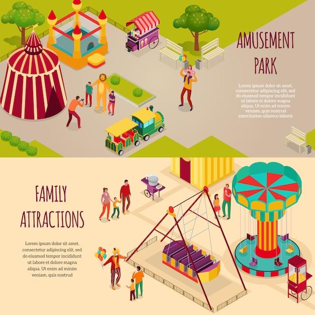 Vergnügungspark-zirkuskünstler und familienattraktionen setzen horizontale isometrische banner isolierte illustration Kostenlosen Vektoren